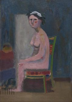 Akt siedzący Chantal Joffe, Figurative, Painters, Polish, Nude, Abstract, Color, Summary, Vitreous Enamel