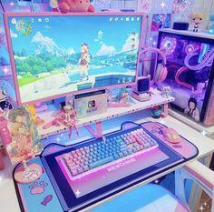 Gamer Setup, Gaming Room Setup, Pc Setup, Room Design Bedroom, Room Ideas Bedroom, Kawaii Bedroom, Video Game Rooms, Cute Room Ideas, Game Room Design