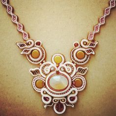 soutache necklace in antique gold by Febrini Ananda Risyad