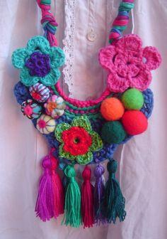 Collar Crochet Flores Y Borlas