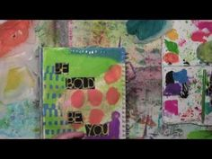 Xyron Adhesives and Kleenex in an Art Journal by Carolyn Dube. Stencils by StencilGirl