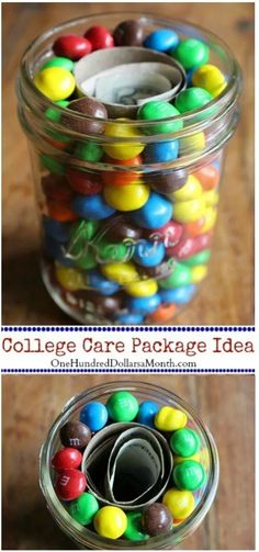 Care Packages for College Students - Money and M&M's - One Hundred Dollars a Month Care Packages for College Students, College Care Packages, Care Package Ideas Gifts For College Boys, College Gift Baskets, Gifts For Boys, Gifts For Him, College Student Gifts, College Presents, College Dorms, College Hacks, Diy Gifts