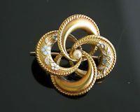 ANTIQUE  14k Gold Enamel & Pearl Swirl Pin - Art Nouveau Victorian