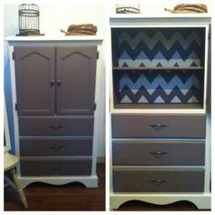 Hand painted chevron dresser Chevron Dresser, Paint Chevron, Sweet Baby Ray, Diy Furniture, Shelves, Hand Painted, Crafty, My Style, Room Ideas
