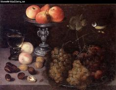 Georg Flegel Still life of grapes on a pewter dish,together with peaches,nuts,a glass roemer and a silver tazza containing apples and pears,...