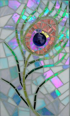 Greetings card from an original glass mosaic of a peacock feather. The original mosaic was made from glass, in lots of bright, vibrant, and some