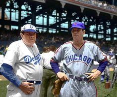 Babe Ruth, serving as the first base coach for the Brooklyn Dodgers, meets up with Dizzy Dean of the Chicago Cubs before a game at Ebbets Field in Pirates Baseball, Dodgers Baseball, Cubs Baseball, Angels Baseball, Babe Ruth, Best Baseball Player, Better Baseball, Baseball Stuff, American Athletes