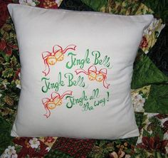 Pillow Cover, Christmas, Pillow Cover Cotton, Jingle Bells,Typography