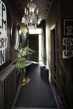 Abigail Ahern for Roger Oates Design - Custom Carpet Malton Cinder with Malton Cin . Modern Entryway, Entryway Decor, Bedroom Decor, Wall Decor, Black Hallway, Flur Design, Hallway Designs, Hallway Ideas, Corridor Ideas