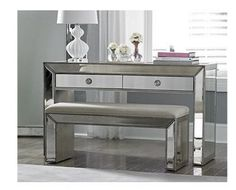 803 Omni Mirrored Vanity Console Table/ Murano Console Table by Bassett Mirror
