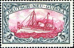 "German New Guinea 1901 Yacht ""Hohenzollern II"" Issue 5mk [MiNr 19, Sc 19]"