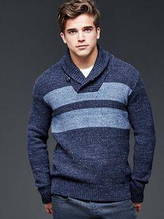 Marled double-stripe shawlneck sweater