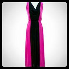 Dresses & Skirts - Colorblock Maxi Dress - Fuschia & Black Please feel free to visit my closet on Poshmark @chica_armario