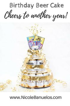 Complete with scratchers on top! Perfect gift for birthday or any milestone birthday! DIY Birthday Beer Cake for Men and Women turning the perfect DIY gift for anyone! Beer Cake Gift, Beer Can Cakes, Craft Beer Gifts, Diy Gifts For Dad, Beer Birthday Party, 21st Birthday Gifts, Diy Birthday, Birthday Cakes, Birthday Ideas