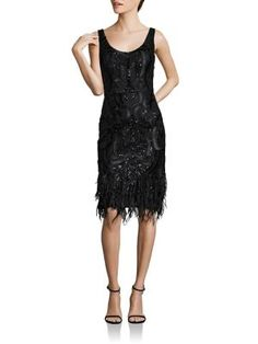 David Meister - Embroidered Feathered Shift Dress