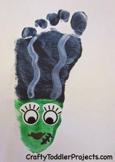 Halloween Craft: Frankenstein's Bride Footprint #Easy #Infant #Toddler #Halloween #Footprint #Craft