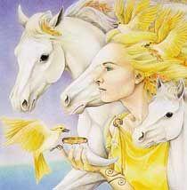 Hrana Janto portrait of Epona celtic horse goddess, also brings to mind Rhiannon, horse and bird goddess