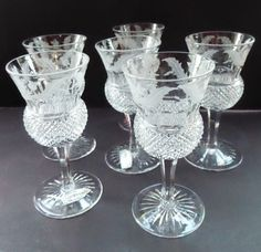 Set of Six Little Vintage 1950s EDINBURGH CRYSTAL THISTLE Etched. Liquer Glasses. 4 1/4 inches