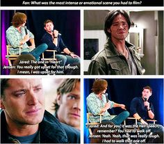 [SET OF GIFS] Jensen and Jared talk about 2x17 Heart and 4x10 Heaven and Hell at convention panel
