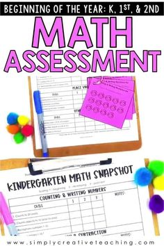 These beginning of the year math assessments are perfect for kindergarten, 1st grade, and 2nd grade classrooms. Use these math assessments during back to school time to help you form guided math groups and small groups for math workshop. Collect this pre-assessment data one-on-one with your students. These skills include counting and writing numbers, addition and subtraction, place value, and more for kindergarten, first grade, and second grade. #backtoschool #beginningoftheyear First Grade Assessment, Kindergarten Assessment, Math Assessment, Teaching Second Grade, Second Grade Math, Grade 1, Guided Math Groups, Homeschool Math, Homeschooling