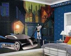 kids room superhero mural | Some Good Ideas For Designing Superhero Themed Boys Bedroom | Home ...