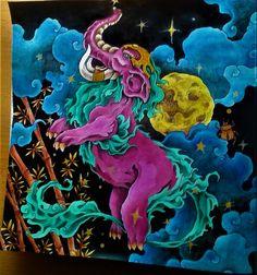 Mythomorphia; KIN polycolor, Derwent inktense, gelovky, tuš podložená progressem