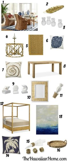 Classic Tropical Decor with rattan, teak, seagrass, palm trees and more