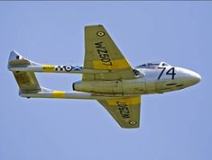 For sale by Historic and Classic Aircraft Sales. The Vampire Preservation Group has successfully operated this 1952 de Havilland Vampire for over a Air Force Aircraft, Fighter Aircraft, Fighter Jets, De Havilland Vampire, Aircraft Sales, Supermarine Spitfire, Aeroplanes, Royal Air Force, Model Airplanes