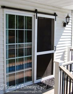 13 Country Chic Ways to Refresh a Screen Door Include some barn style to the back of your home by installing a sliding screen door. Get the tutorial at Planted and Blooming Girl.<br> Because it's not a country house without a screen door. Diy Screen Door, Sliding Screen Doors, Screens For French Doors, Replacement Sliding Screen Door, Rolling Screen Door, Exterior Sliding Doors, Exterior French Doors, Hanging Screen Door, Outdoor French Doors