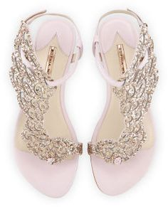 Webster Seraphina Angel-Wing Flat Sandal, Pink Glitter Seraphina Angel-Wing Flat Sandal, Pink Glitter by Sophia Webster at Neiman Marcus.Seraphina Angel-Wing Flat Sandal, Pink Glitter by Sophia Webster at Neiman Marcus. Pretty Shoes, Beautiful Shoes, Cute Shoes, Me Too Shoes, Pretty Sandals, Ankle Strap Flats, Ankle Wrap Sandals, Flat Sandals, Strap Sandals