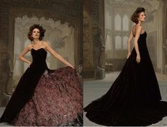 Beautiful Black/Burgundy Gown