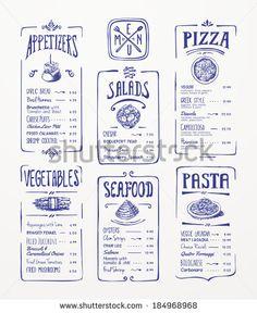 Menu Stock Photos, Images, & Pictures   Shutterstock Design Menu Pizza, Menu Restaurant Design, Cafe Menu Design, Bakery Menu, Food Menu Design, Restaurant Branding, Restaurant Restaurant, Menu Resto, Pasta Menu
