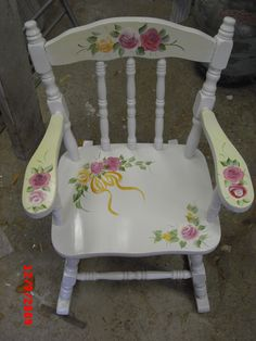 Ordinaire Vintage Childrenu0027s Rocking Chair, Custom Painted With Hand Painted Artwork.  Perfect Personalized Gift Ideas
