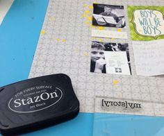 stazon jet black used with a scrapbook back to school page