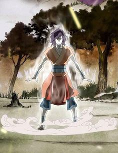 Legend of Korra: Wan, the first Avatar, in the Avatar State for the first time.