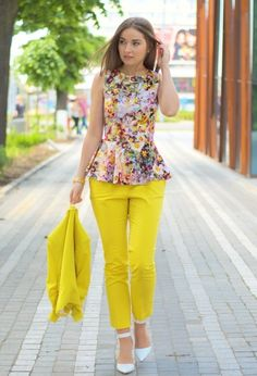 Yellow pants and Flowers blouse