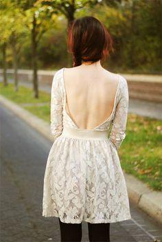 White backless dress.