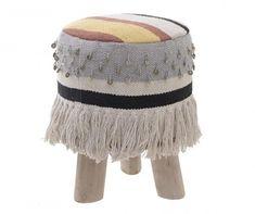 Boho style stool with 3 legs Floor Cushions, Boho Chic, Boho Style, Boho Fashion, Winter Hats, Fabric, Furniture, Collection, Home Decor