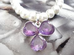 Quatrefoil amethyst pearl necklace, Amethyst pendant, Pearl jewelry, Mother's day gift, Single strand necklace, Anniversary, Best wife gift. Strand Necklace, Pearl Necklace, Good Wife, Amethyst Pendant, Quatrefoil, Gifts For Wife, Pearl Jewelry, Anniversary, Pearls