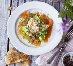 Quick yet luxurious, this is a great supper for two - the fresh crab mix with mayo and cayenne is also delicious with potatoes, from BBC Good Food. Smoked Salmon Salad, Crab Dressing Recipe, Fennel Salad, Bbc Good Food Recipes, Food Shows, Easy Salads, The Fresh