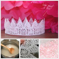 DIY Glitter Tiara Using Sugar Starch Tutorial  rainbowsandunicornscrafts:    DIY Glitter Tiara Using Sugar Starch. I wish I had seen this when I did my crown/tiara roundup here, because I like the idea of using sugar starch (sugar and water) as a stiffener. Easy tutorial from Trinkets in Bloom here.    Truebluemeandyou: From my other blog.