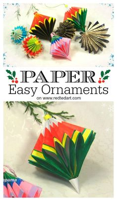 Easy Paper Ornaments from Square Paper. No complicated cutting of paper. Just 4 sheets of square paper, folded and stuck together. GORGEOUS Paper Decoration