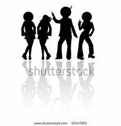Disco silhouettes - stock vector