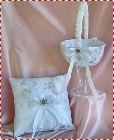 Snowflake Wedding Flower Girl Basket and Ring Bearer Pillow Set