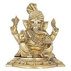 Unique Statue Ganesha in Turban Brass Idol for Hindu Home Décor 11 Inches Religious Gifts ShalinIndia http://www.amazon.in/dp/B00SZS1I0U/ref=cm_sw_r_pi_dp_KAu7vb0SD9Q5X