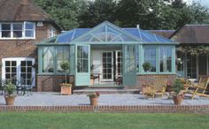 french conservatory | example below is a pitched roof design with a gable front above French ...