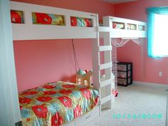 Fun  Girls Gold and Pink Bedroom- Bunk Beds