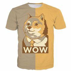 Cute Shiba Inu Dog WOW Doge Cartoon Style Yellow 3D T-Shirt