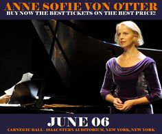 Anne Sofie Von Otter in New York at Carnegie Hall - Isaac Stern Auditorium on June 06. More about this event here https://www.facebook.com/events/113696552525288/