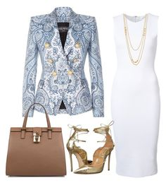 A fashion look from July 2016 featuring Balmain, blue pants and high heel shoes. Browse and shop related looks. Classy Outfits, Chic Outfits, Fashion Outfits, Womens Fashion, Business Outfits, Business Attire, Mode Shoes, Professional Outfits, Work Attire